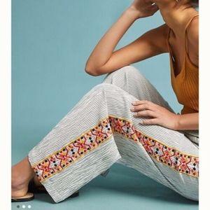 Anthropologie LAIA Stasia Embroider Wide Leg Pants
